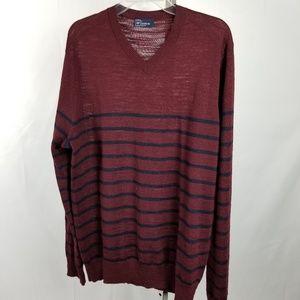 GAP | Men's Merino Wool V-neck Striped Sweater